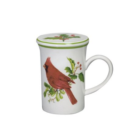 10 Oz Soup Mug (Andrea by Sadek - 10 oz. Covered Mug - Red Cardinal Holiday)