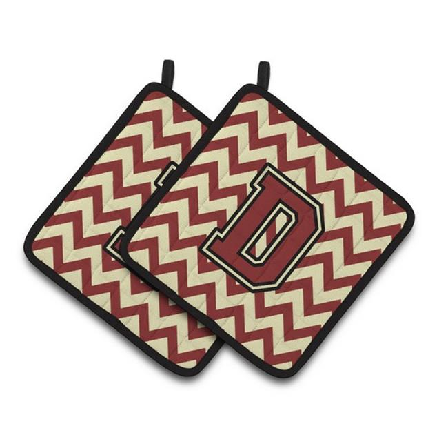 Carolines Treasures CJ1061-DPTHD Letter D Chevron Maroon & Gold Pair of Pot Holders, 7.5 x 3 x 7.5 in. - image 1 of 1
