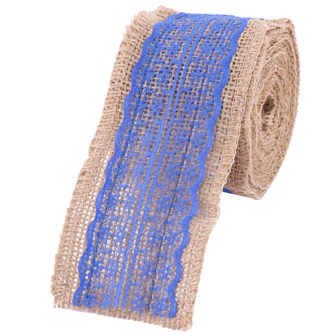 Festival Linen Skirt Chair Gift Box Decor DIY Ribbon Roll Royal Blue 3.4 Yards