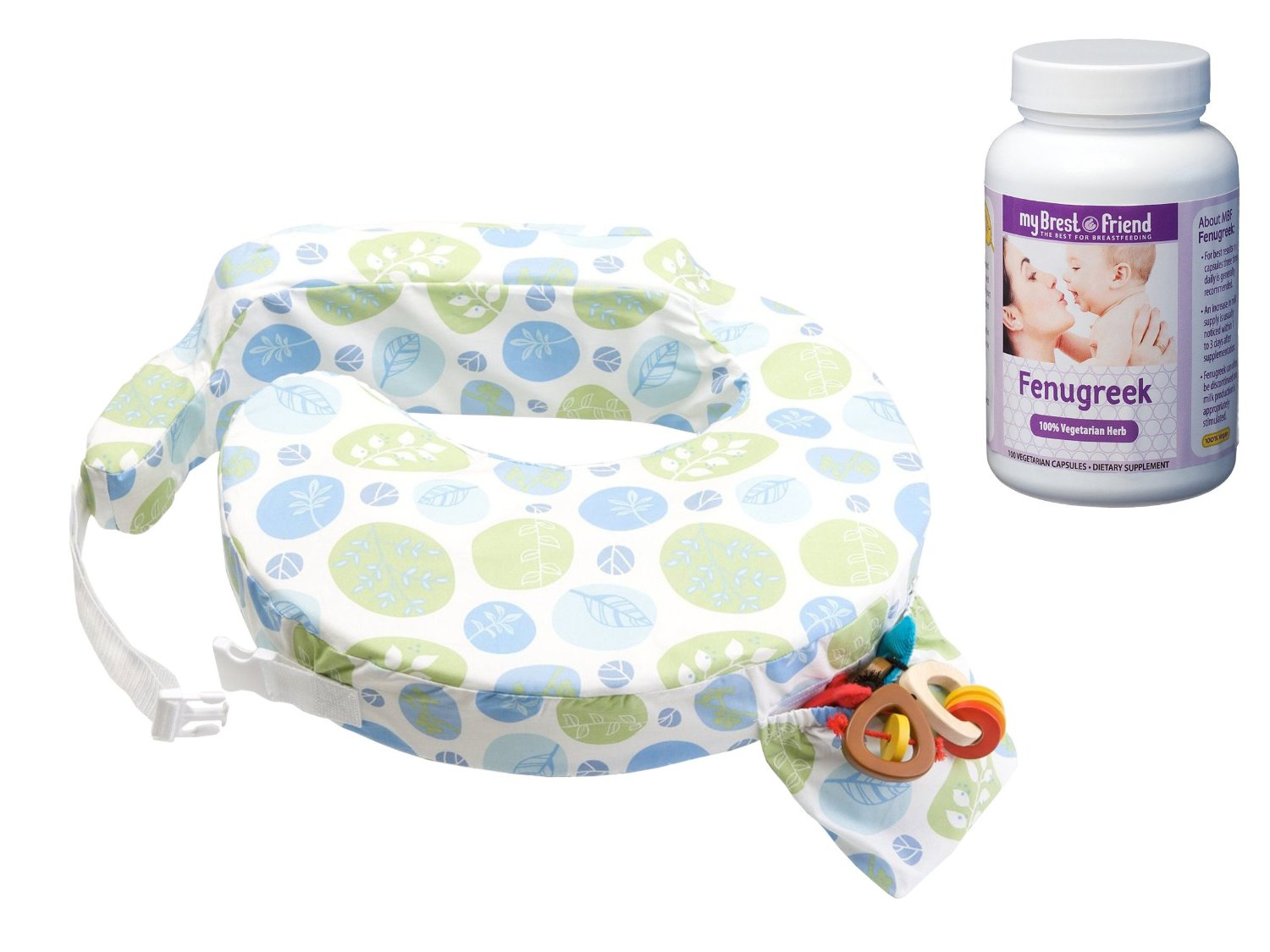My Brest Friend Original Nursing Pillow with Fenugreek Capsules, Blue Bells by My Brest Friend