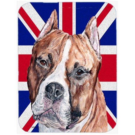 Caroline's Treasures Union Jack Staffordshire Bull Terrier Staffie with English British Flag Glass Cutting Board