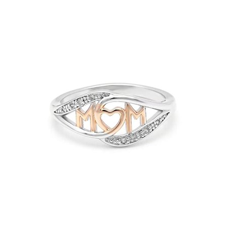 Ginger Lyne Collection Mom Ring Two-toned White and Rose Gold Plated from the