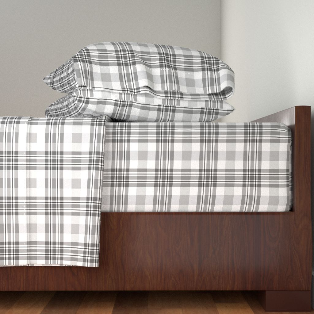 Gray Plaid Gray Tartan Gray Pattern 100% Cotton Sateen Sheet Set by Roostery