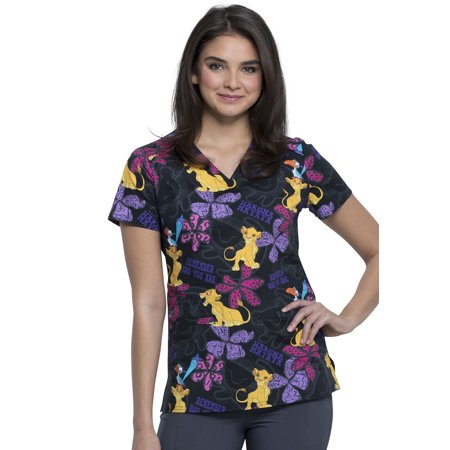 Tooniforms Women Scrubs Top, V-Neck, TF666, XS, Simba Remembers