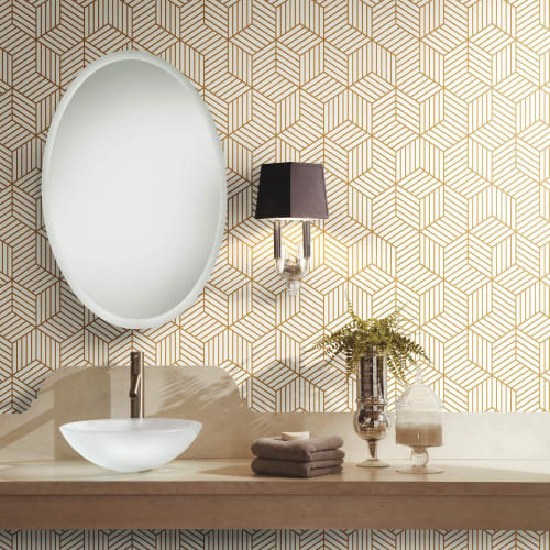 RoomMates Stripped Hexagon White/Gold Peel & Stick Wallpaper