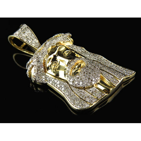 Diamond Crown Charm - Men's Yellow Gold Jesus Head Thorn Crown Pave Diamond Fashion Charm Pendant (1.0ct)