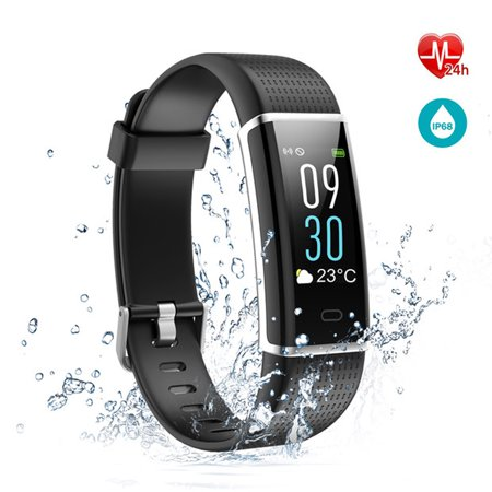 Fitness Tracker with Heart Rate Monitor, Fitness Watch Activity Tracker Smart Watch with Sleep Monitor 14 Sports Mode,Pedometer Watch Step Counter for Kids Men Women (Color Screen,IP68 Waterproof)