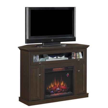 Windsor TV Stand with 23″ Infrared Quartz Fireplace, Oak Espresso