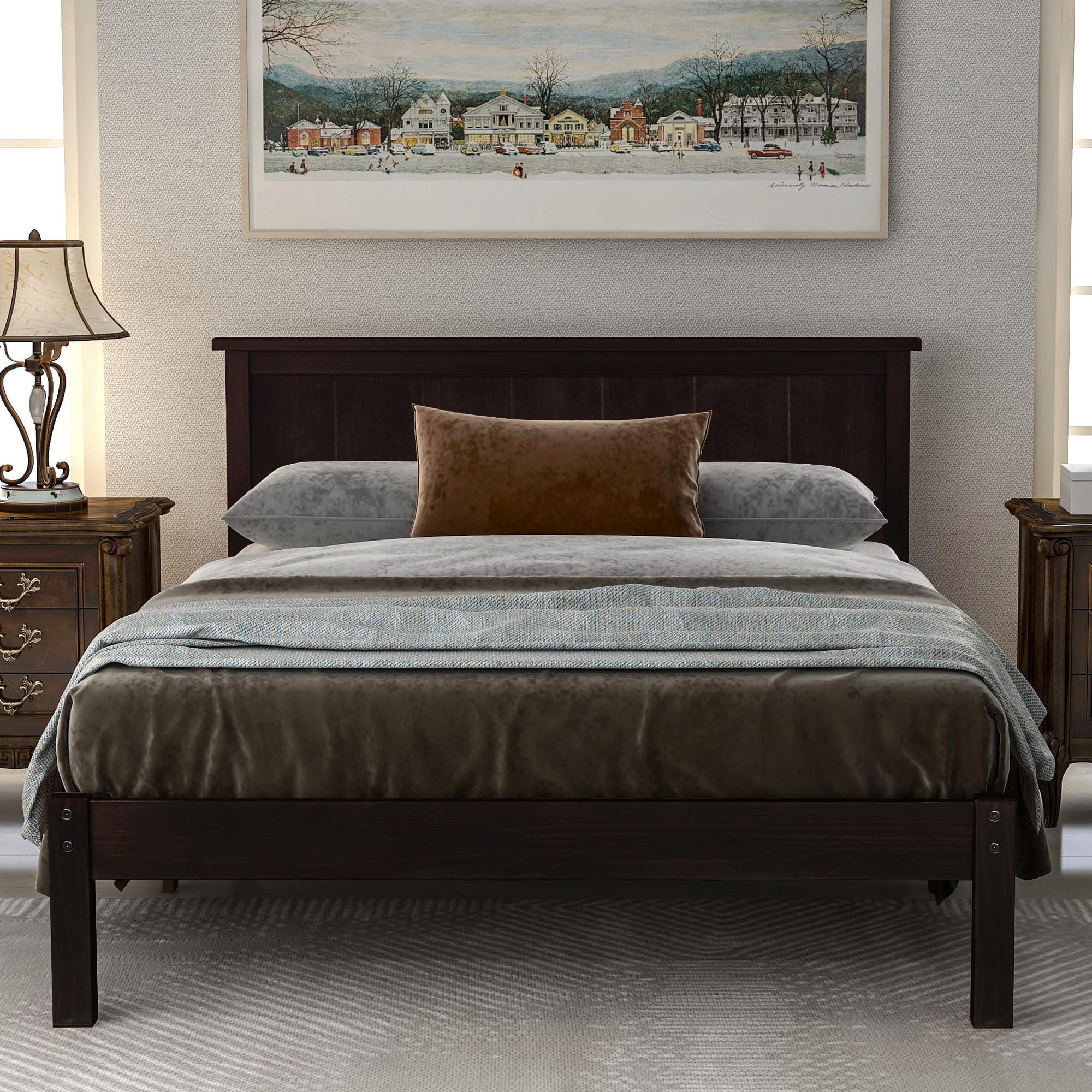 Queen Bed Frame, Brown Wood Platform Bed Frame with ...