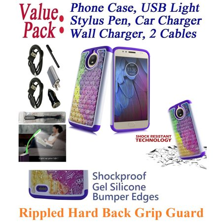 Value Pack Cables   For 5 5   Motorola Moto G5s   Plus G5splus Case Phone Case Shock Proof Edge Diamond Rippled Back Firm Grip Hybrid Slim Bumper Cover Cotton Candy