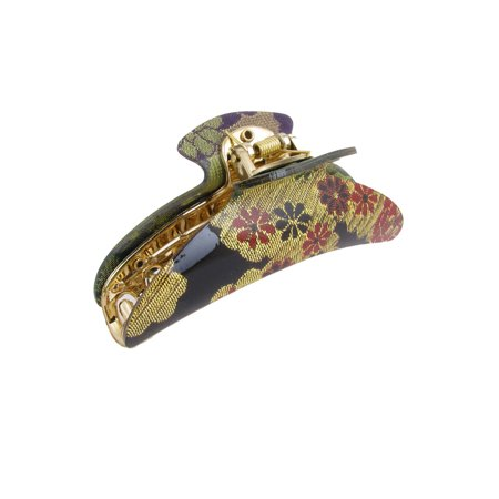 Unique Bargains Women Press Spring Design Flower Pattern Hair Claw Clamp Black (Claw Clamp)