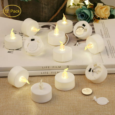 Tea Lights Flameless Candles Votive Candle LED TeaLight Fake Candles Battery Operated Warm Yellow Flame for Valentine Day Wedding Party Decorations-12 Pcs](Battery Operated Tea Lights Bulk)