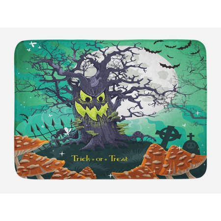Halloween Maths For Kids (Halloween Bath Mat, Trick or Treat Dead Forest with Spooky Tree Graves Big Kids Cartoon Art Print, Non-Slip Plush Mat Bathroom Kitchen Laundry Room Decor, 29.5 X 17.5 Inches, Multicolor,)