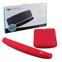 NEX Ergonomic Mouse Pad with Wrist Support, Memory Foam Keyboard Wrist Rest for Computer, Red (NX-PAD006)