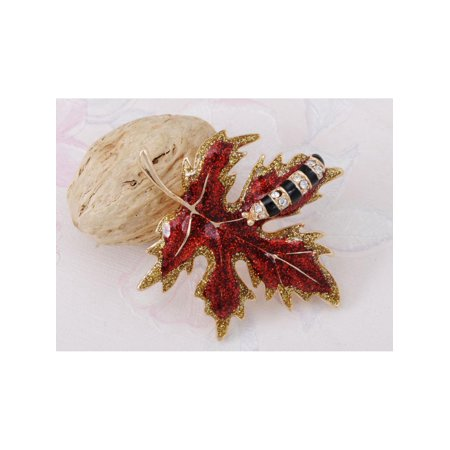 Crystal Elements Caterpillar Crawling on Autumn Maple Leaf Pin Brooch Maple Leaf Brooch