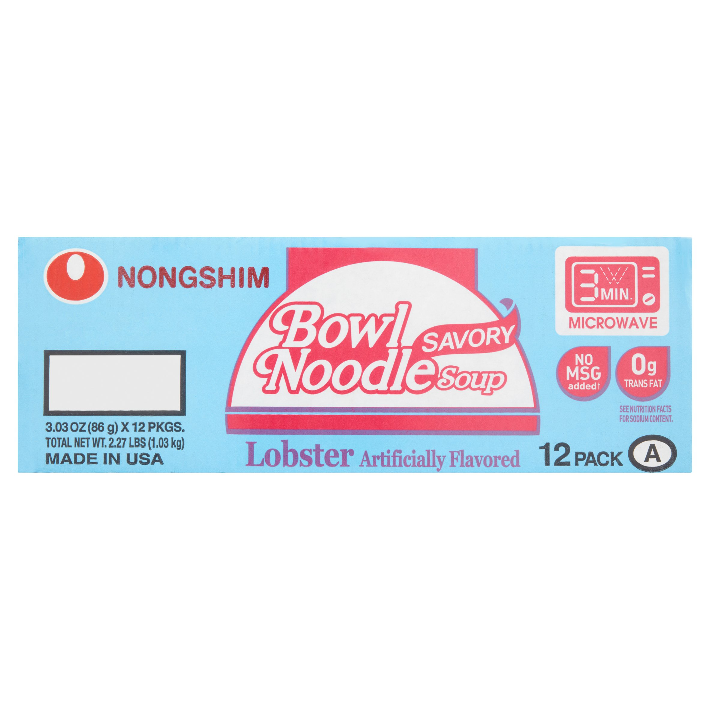 Nongshim Savory Lobster Bowl Noodle Soup, 3.03 oz, (Pack of 12) by Nongshim America, Inc.