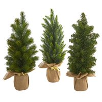 """15"""" Mini Cypress and Pine Artificial Tree (Set of 3)"""