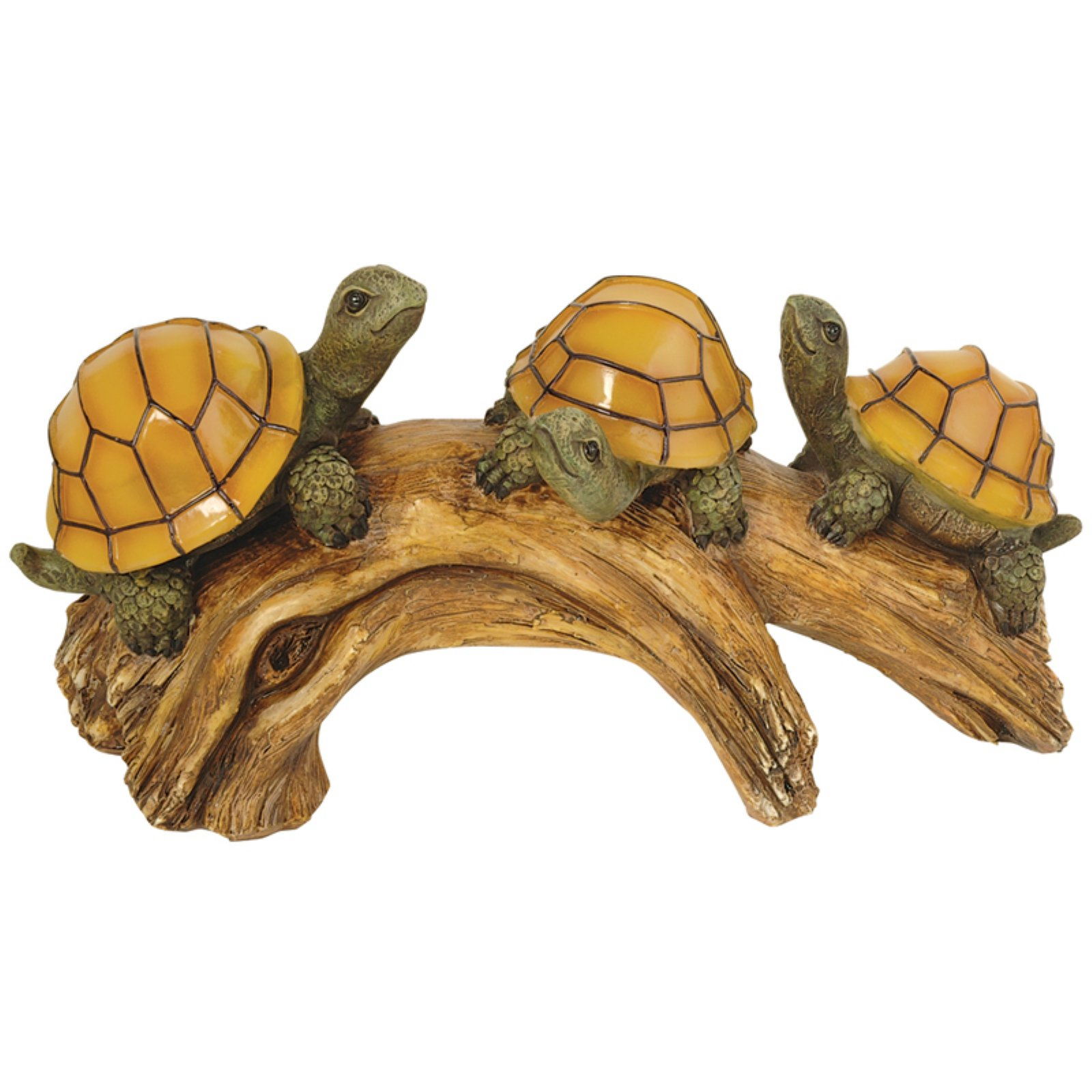 Moonrays Solar Powered Turtles on Log with LED Glowing Shells