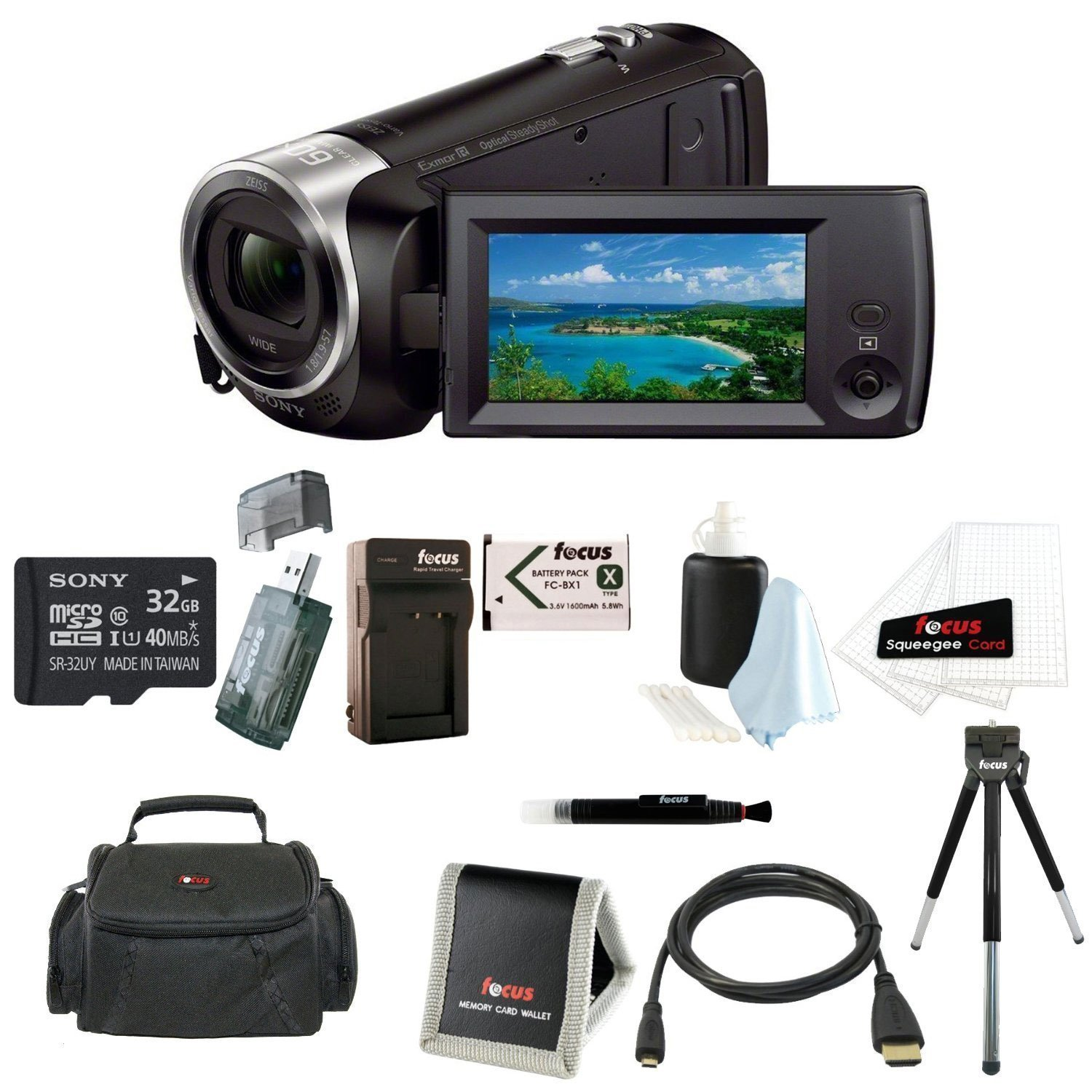 Sony HDR-CX405 Handycam Camcorder + 32GB microSDHC card + 8-Inch Table Tripod + Accessory Bundle
