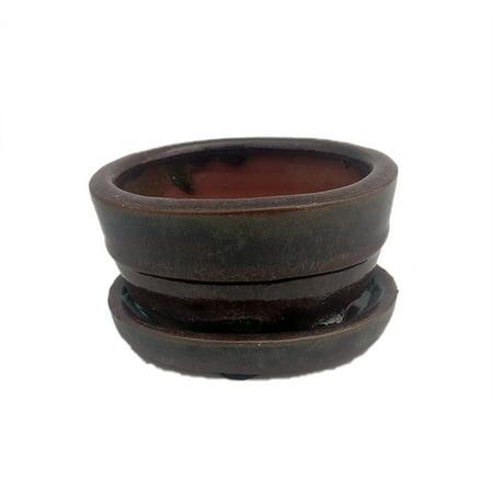 Small Ceramic Bonsai Pot plus Saucer - Red Oval -4