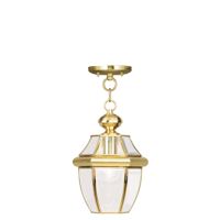 Outdoor Pendants Porch 1 Light With Clear Beveled Glass Polished Brass size 8.5 in 100 Watts - World of Crystal