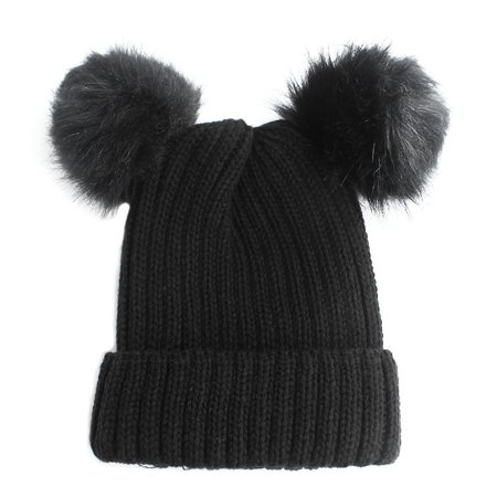 1021a4259 Chunky Knit Beanie Hat with Double Faux Fur Pom Pom Ears