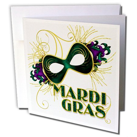 3dRose Mardi Gras Green Gold and Purple Mask for Celebrating - Greeting Card, 6 by