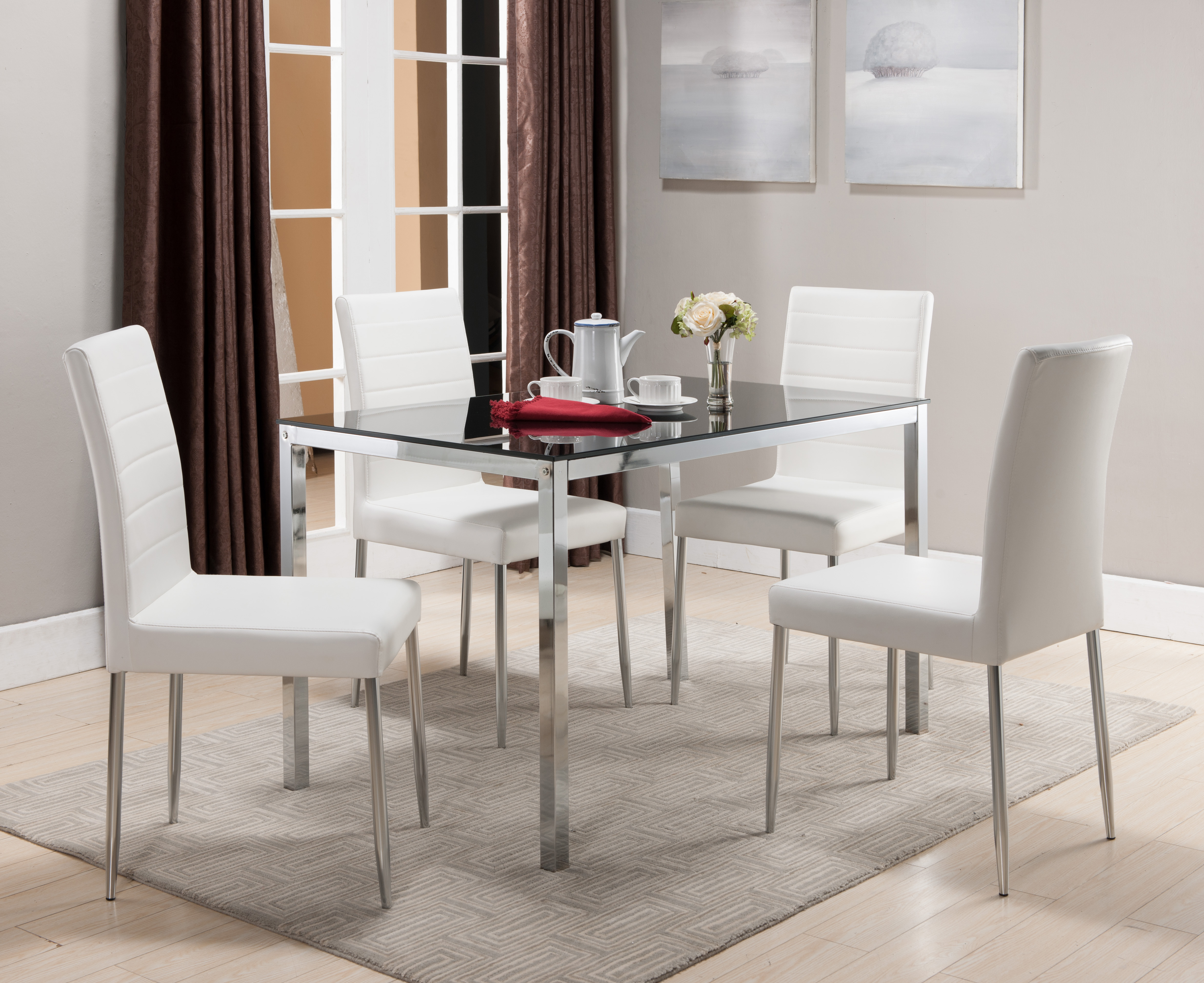 5 Piece Chrome U0026 Black Metal U0026 Glass Rectangle Kitchen Dinette Dining Table  U0026 4 White