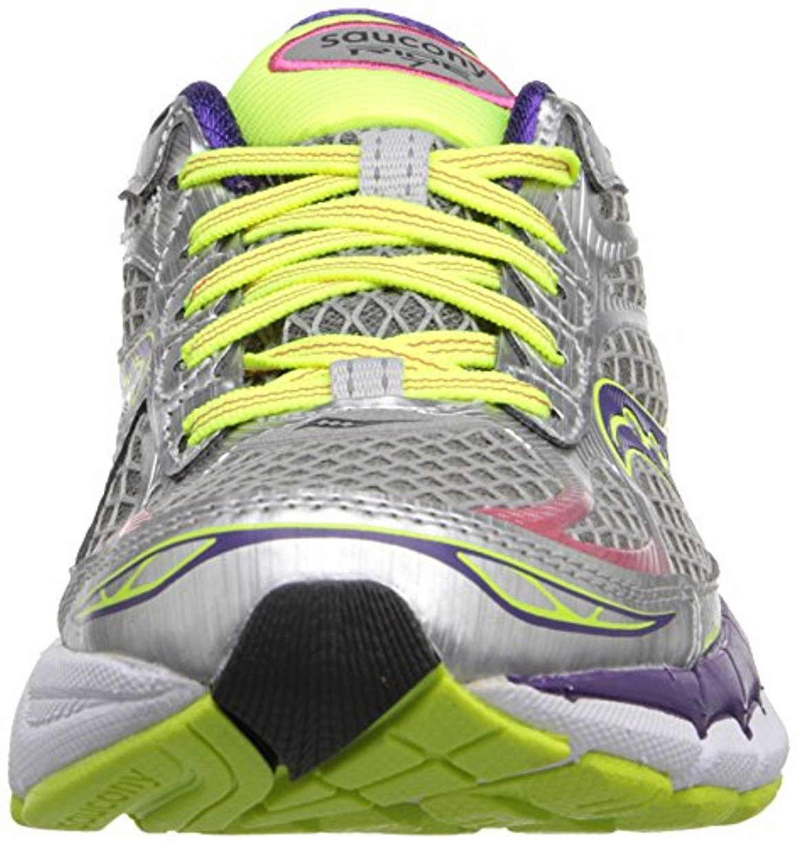 Saucony Women's Ride 7 Running Shoe,5 N US,Silver/Purple/Citron