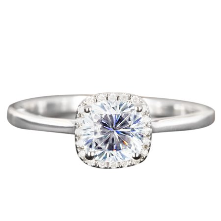 Moissanite Halo Ring (1.25 Carat cushion cut Moissanite and Diamond Halo Engagement Ring in White Gold )