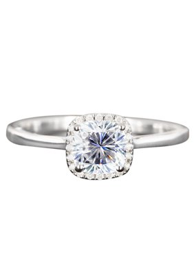 1.25 Carat cushion cut Moissanite and Diamond Halo Engagement Ring in White Gold