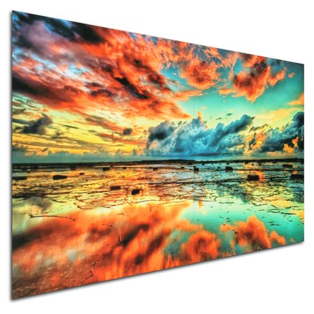 - 24''x36'' Abstract Trippy Sunset-Sea Beach Silk Cloth Wall Art Poster Picture Home Wall Decor Christmas Gift