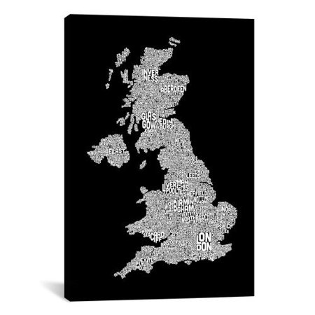 iCanvas 'Great Britain Cities Text Map II' by Michael Tompsett Textual Art on Canvas