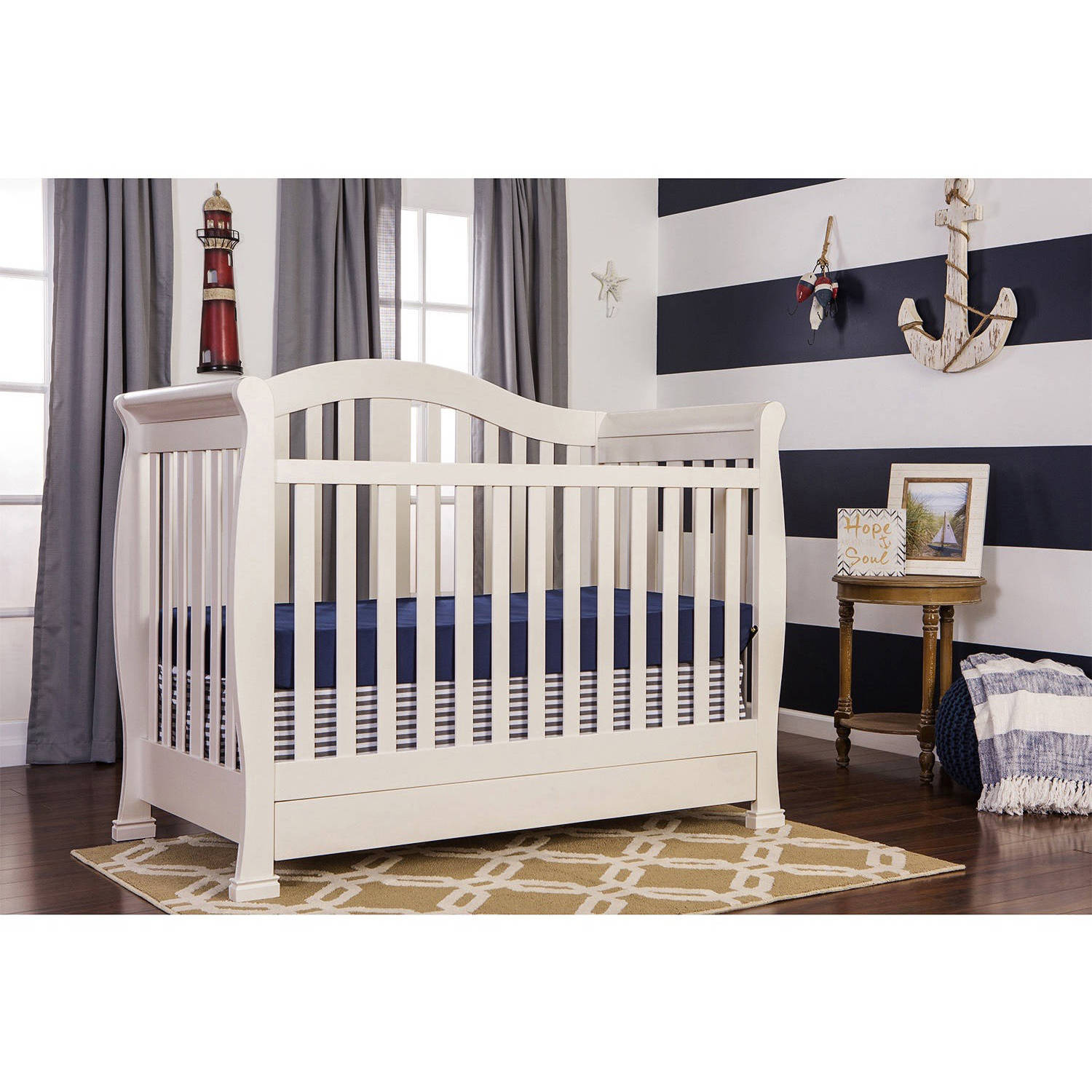 Dream On Me Addison 5-in-1 Convertible Fixed-Side Crib with Storage Drawer, Choose Your Finish