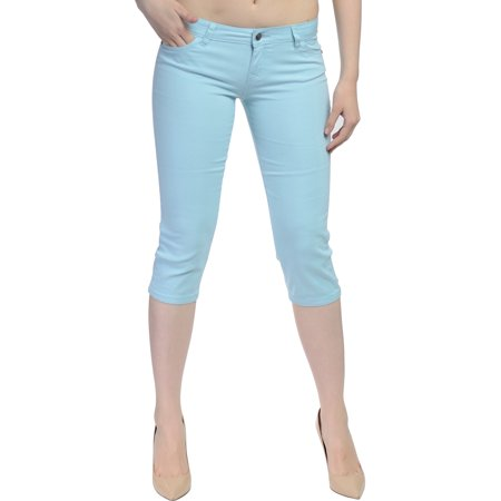 Hey Collection Juniors Brushed Stretch Twill Skinny Capri -