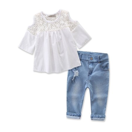 StylesILove Sweet Girl Lace Design Off Shoulder 3/4 Sleeve Blouses and Jeans 2 pcs Outfit Set (Sweet Potatoes Girls Clothes)