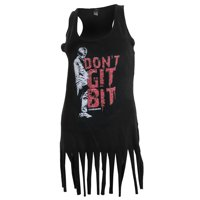 The Walking Dead Dont Git Bit Juniors Fringe Cut Black Tank Top Shirt | L