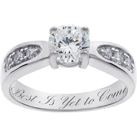 personalized sterling silver cubic zirconia promise ring. Black Bedroom Furniture Sets. Home Design Ideas