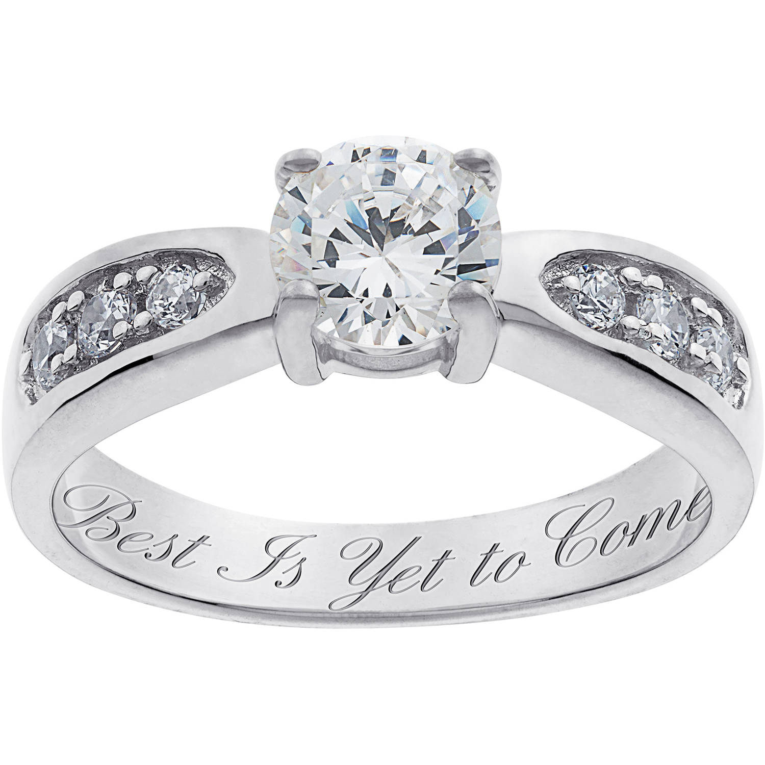 Personalized Sterling Silver Cubic Zirconia Promise Ring