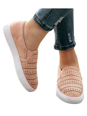 Women's Slip On Hollow Summer Round Toe Flat Casual Sneaker Sports Shoes