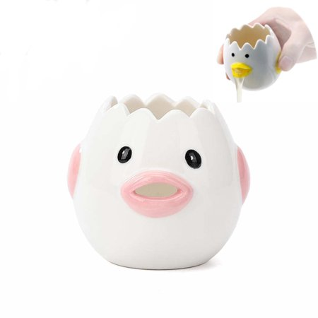 Fymall Eggs White Separator Ceramic Cartoon Eggs Kitchen Tool,Pink ()