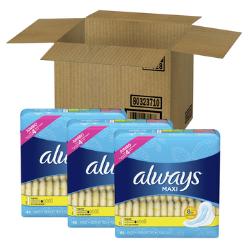 Always Maxi, Size 1, Regular Pads With Wings, Unscented, 135 Count