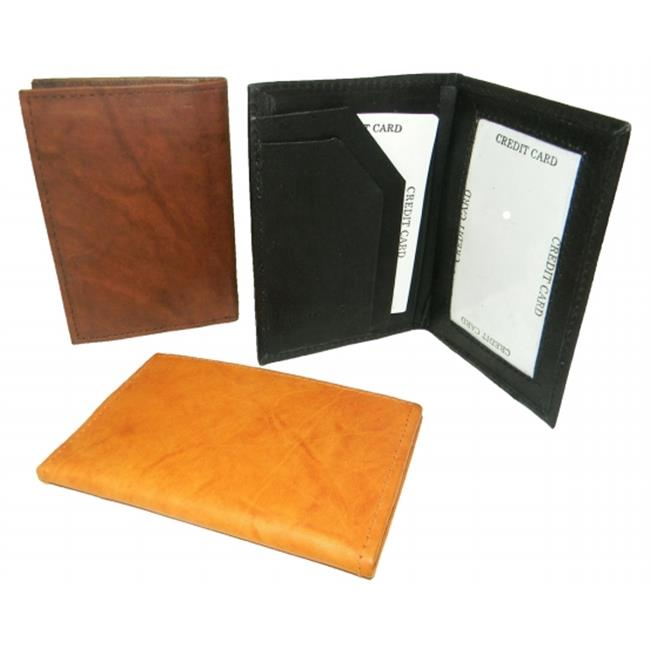 Leather In Chicago CC-920BRN Leather Card Case with Inside Window for Id, brown