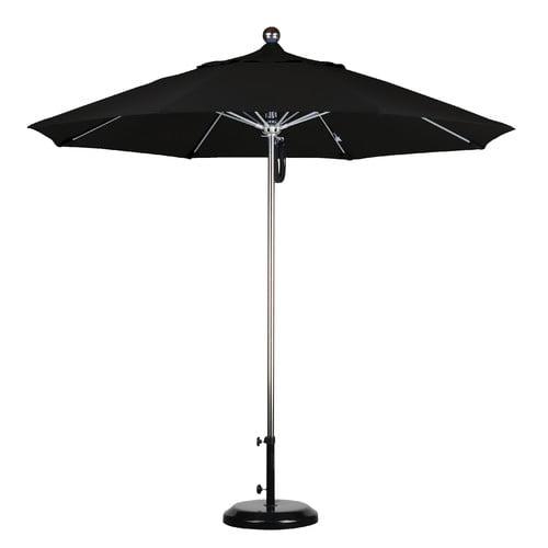 9'SSteel SinglePole FGlass Ribs Market Umbrella Anodized/Pacifica/PacBlue