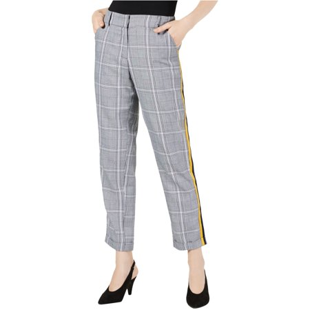 PROJECT 28 NYC Menswear Plaid Side-Striped Pants in Black Plaid, Size X-Large Suiting Menswear Pant
