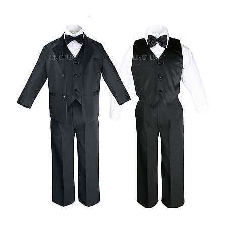 Toddler Kid Child Teen Boys Black Formal Wedding Party Suit Set Tuxedo Suit S-20