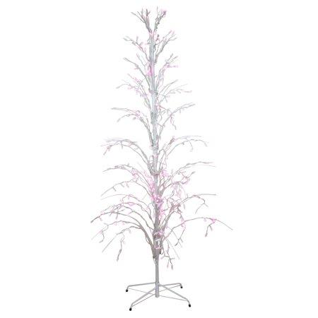 4 Pink Led Lighted Christmas Cascade Twig Tree Outdoor Decoration