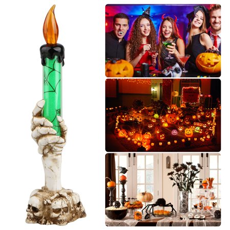 Halloween LED Light Skull Hand Candle Holder Skeleton Ghost Flameless Candle Battery Operated Party Bar Decoration Lamp (Halloween Ghost Candle Holder)