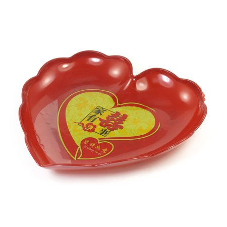Unique Bargains Family Kitchenware Red Heart Design Fruit Tray Plate Vegetable Container ()