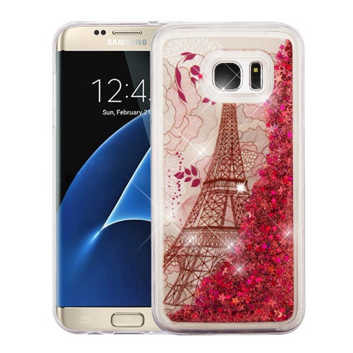 For Samsung Galaxy S7 Edge Eiffel Tower/Rose Gold Stars Liquid Glitter Cover